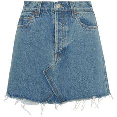 RE/DONE Originals distressed denim mini skirt (€265) ❤ liked on Polyvore featuring skirts, mini skirts, bottoms, saias, denim, blue, mini skirt, vintage high waisted skirts, blue skirts and vintage skirts