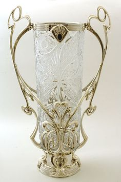 Russian silver and crystal center piece with onix stone. Made by a Russian silver artist who immigrated to Israel in 1970 and was designed by him in an Art Nouveau style