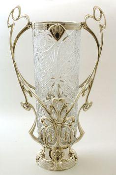 Florero de plata, cristal y onix de Rusia Art Nouveau
