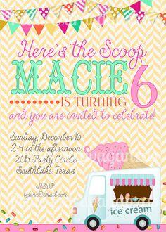 Set of 24 Ice Cream Birthday Party Invitations