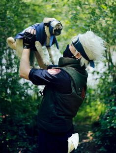 Naruto Cosplay. The dog is also a fans of Naruto.Haa.....