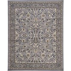 Kashan Traditional Fl Grey Cotton Area Rug 8 X