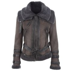 SWORD 0505 GREY LEATHER 0 ($1,575) ❤ liked on Polyvore featuring outerwear, jackets, coats, women, coats & jackets, zip jacket, s w o r d jacket, gray leather jacket, fur trimmed jacket and fur trimmed leather jacket
