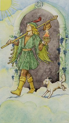 """Die Bilder aus dem Lo Scarabeo Tarot / Tarocchi Lo Scarabeo / Tarot Lo Scarabeo werden abgebildet mit freundlicher Erlaubnis von Lo Scarabeo. Symbols: Having gone through a portal ornamented with a butterfly and blue grapes; no mountains but goeswalks in the clouds; no white rose but a burning cup; bells in the clothes.  Iconography:  The Fool is titled Le Mat in the Tarot of Marseilles, and Il Matto in most Italian language tarot decks. These archaic words mean """"the madman"""" or """"the"""