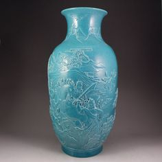 Chinese Blue Glaze Low Relief Porcelain Vase