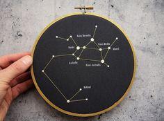 Sagittarius constellation in embroidery hoop. Sagittarius Zodiac Sign, Sagittarius Wall Decor, Astrology Print, Constellation Print