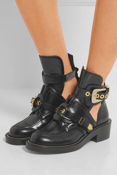 b0ebc1f958fb Balenciaga - Cutout glossed-leather ankle boots