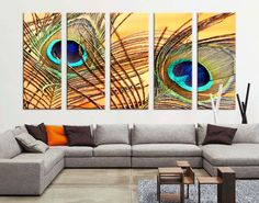 Oversize Large Wall Art Peacock Feather Canvas Print - Wall Art Peacock Feather Canvas Print - Large Art Peafowl Wall Canvas Print