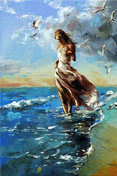 Fine Art and You: Victor Bauer Abstract Canvas, Oil Painting On Canvas, Painting People, Fine Art, Beach Art, Beautiful Paintings, Female Art, Watercolor Art, Fantasy Art