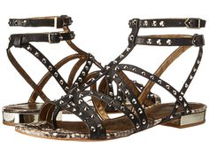 Sam Edelman Demi Studded 2Buckle Ankle Strap Flat Thong Sandal leather black, nude, saddle .25h sz7.5 110.00 3/16