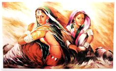 Indian painting is a form of Indian art. Indian paintings provide an aesthetic continuum that extends from the early civilization to the pre. Rajasthani Painting, Rajasthani Art, Indian Women Painting, Indian Art Paintings, Oil Paintings, Mf Hussain Paintings, Famous Indian Artists, Krishna Painting, Modern Artwork