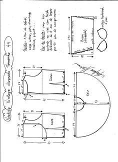 Esquema de montagem de vestido de festa vintage tamanho 44.