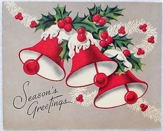 1016 40s Festive Bells Garland Vintage Christmas Greeting Card | eBay