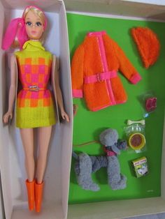 If I was rich, I would think about it. This is nice. : Mod Barbie Walking Jamie Furry Friends Giftset Grey Poodle Fashion Sears '70 | eBay