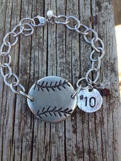 Show off your support and team colors with this stylish hand stamped baseball / softball bracelet with # charm. The baseball disc is made from a 1 Softball Bracelet, Softball Jewelry, Softball Gifts, Girls Softball, Softball Stuff, Baseball Stuff, Volleyball, Baseball Crafts, Baseball Boys