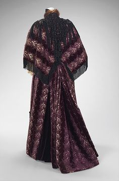 House of Worth, Purple-Print Ensemble Showing Train, Paris, 1894.