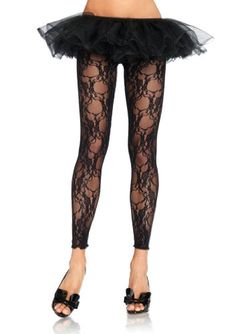 b3336c0b473 Leg Avenue Women s Floral Lace Footless Tights
