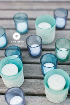 A Seaglass Inspired Tablescape with Pier 1 Imports + DIY Ombre Votives