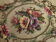 Preworked Tapestry Needlepoint Canvas 20K PETIT POINT. A Victorian style whole petit point PREWORKED needlepoint canvas -- Hibiscus Bouquet With Fluent Acanthus Scrolls. The background is just left for you to complete with your favourite color. | eBay!