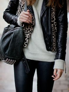 leather with a hint of leopard