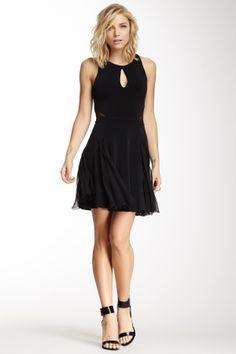 Carlan Sheer Cutout Flare Dress