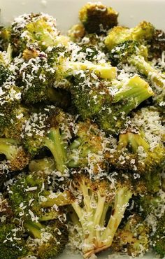 Roasted Broccoli with Parmesan: 1 head of broccoli, 1 tablespoon olive oil, salt, 2 tablespoons grated Parmesan cheese and freshly ground black pepper.
