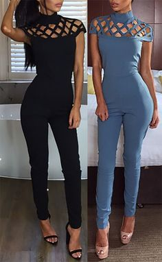 High Neck Cage Hollow-out Jumpsuit Night Outfits, Outfits For Teens, Chic Outfits, Fashion Outfits, Jumper Outfit Jumpsuits, Girl Fashion, Fashion Looks, Womens Fashion, Jumpsuit Dressy