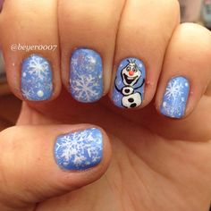 Olaf from Frozen nails!! ⛄️❄️