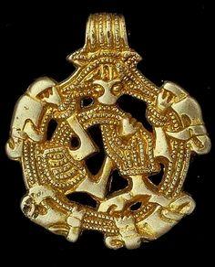 Viking gilded silver pendant, Södermanland / Sweden. http://mis.historiska.se/mis/sok/bild.asp?uid=17402