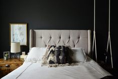 Goth Glamour: 10 Stylish Black Bedrooms Appears almost navy in some light-Anna's kitchen cabinets One Bedroom Apartment, Home Bedroom, Bedroom Wall, Bedroom Decor, Bedroom Ideas, Master Bedroom, Bedroom 2018, Wall Decor, Bedroom Lighting