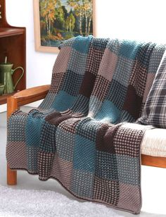 Sew Weighted Blanket Free Knitting Pattern for Plaid Texture Afghan - Blanket knit with slip stitch colorwork in strips and seamed. Afghan Crochet Patterns, Knitting Patterns Free, Knit Patterns, Free Knitting, Free Pattern, Blanket Patterns, Crochet Afghans, Crochet Yarn, Patons Yarn