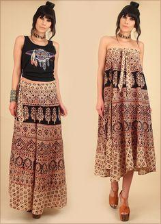 ViNtAgE Indian Cotton Maxi Wrap Skirt Block by hellhoundvintage