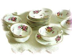 Vintage Cauldon Tea Cups and Saucers Roses by MerrilyVerilyVintage