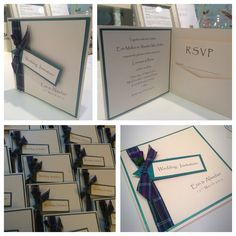 Scottish themed pocket fold invites by made marvellous Handmade Wedding Invitations, Invites, Rsvp, Pocket, Homemade Wedding Invitations, Wedding Cards Handmade, Bag