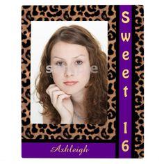 Leopard Pattern Purple Stripe Sweet 16 Personalized Photo Plaque #frame