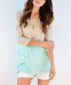 Love this éloges Mint & Beige Color Block Three-Quarter Sleeve Tunic by éloges on #zulily! #zulilyfinds