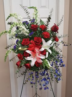 Red white and blue funeral flowers @flowersbyaprilct