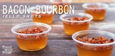 For your New Year's Eve enjoyment: Bacon Bourbon Jello Shots! These jello shots will make you the star of the party. Made with bourbon and candied bacon.