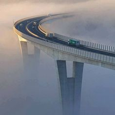 The first morning light lightens up the viaduct Črni Kal which partly covered in dense fog extending across the northern Adriatic sea. Nov Photo by: to be featured Bridge Design, Civil Engineering, Bridge Engineering, Amazing Nature, Land Scape, Places To See, Beautiful Places, Scenery, Around The Worlds