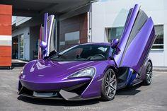 Beautiful Mauveine Blue McLaren 570S front side doors up