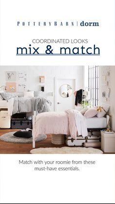 College Dorm Desk, College Closet, College Dorm Bedding, Dorm Room, Bed Room, Home Office Design, House Design, Cute Bedroom Ideas, Dorm Essentials