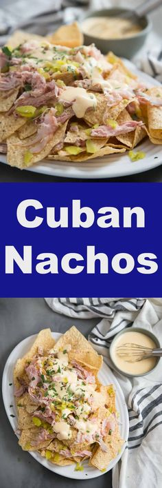 Cuban pork sandwiches are a real delicatessen treat, but you can easily take the flavors of that tasty sandwich and convert them into a big plate of family-friendly nachos! Easy Appetizer Recipes, Healthy Appetizers, Easy Dinner Recipes, Yummy Snacks, Lunch Recipes, Cuban Pork Sandwich, Sandwich Recipes, Slow Cooked Pulled Pork, Pork Shoulder Recipes