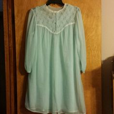 Dreamy sky blue flowy gown and matching robe Gorgeous set. Pretty blue color opalescent buttons  flowy and feminine  no size listed but will fit medium to a small large or 6 - 10 vintage  Intimates & Sleepwear Robes
