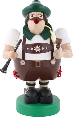 Smoker Octoberfest musician with Clarinet - 6 inch - 16 cm