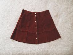 vintage 1960s dark rust suede scalloped mini skirt