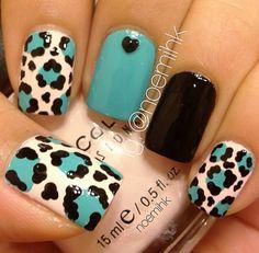 Teal black & leopard nails