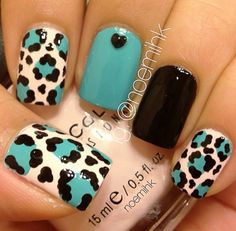 Teal black & leopard nails