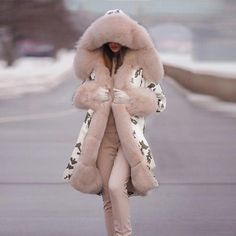 Hood Pattern, Winter Fur Coats, Long Overcoat, Knitted Coat, Punk Art, Cotton Jacket, Warm Coat, Mode Outfits, Fur Collars