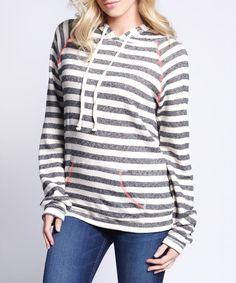 Look at this #zulilyfind! White & Black Stripe Camille Hoodie by So Nice Collection #zulilyfinds