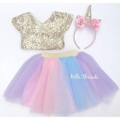 Unicorn Tutu Set - Gold Sequin Top & Rainbow Tutu Set – Belle Threads
